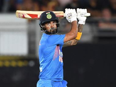 KL Rahul struck a 27-ball 56 in the first T20I, forging a 99-run stand with Virat Kohli to lay the foundation for a successful Indian chase. AP
