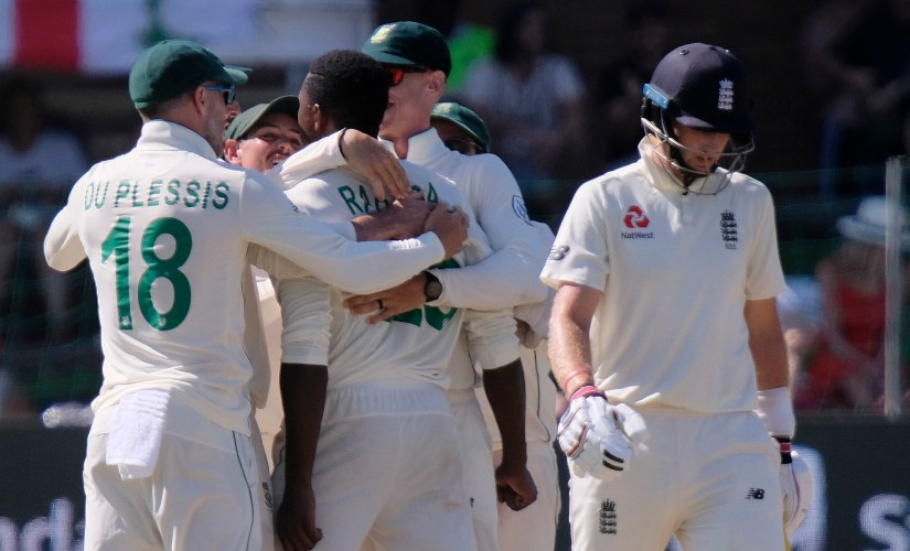 Kagiso Rabada was handed a demerit point for his overexuberant celebration of Joe Root's dismissal, leading to his ban for one match. AP