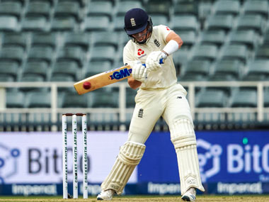 England's batsman Ollie Pope plays a shot on day one of the fourth cricket test match between South Africa and England. AP
