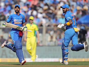 Shikhar Dhawan of India and K. L. Rahul of India during the 1st One day International match between India and Australia held at the Wankhede Stadium, Mumbai on the 14th Jan 2020. Photo by Deepak Malik / Sportzpics for BCCI