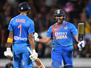 Rohit Sharma roars in delight after hitting back-to-back sixes to help India win the Super Over. AP
