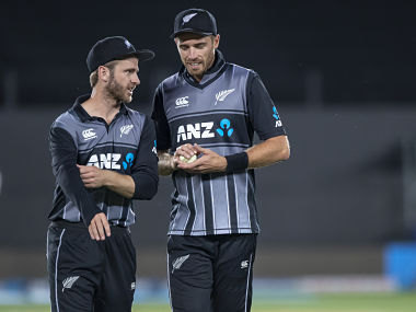 Tim Southee and Kane Williamson have a chat during 2nd T20I in Auckland. AP