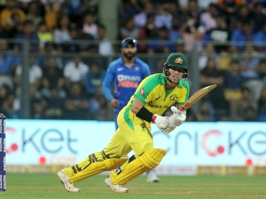 David Warner of Australia plays a shot during the 1st One day International match between India and Australia held at the Wankhede Stadium, Mumbai on the 14th Jan 2020. Sportzpics