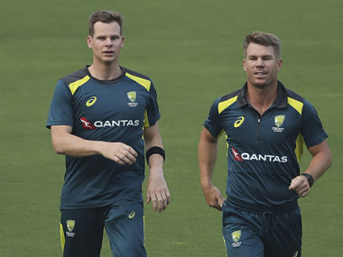 Steve Smith and David Warner during a training session. AP
