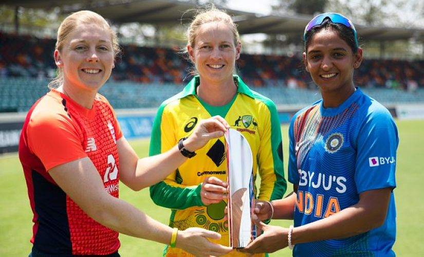 Three captains pose with the trophy. Image courtesy: Twitter/@AusWomenCricket