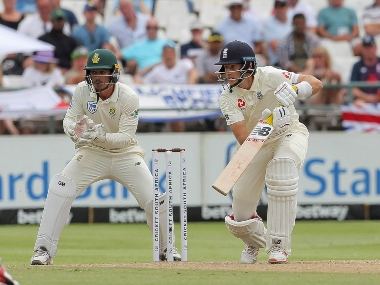 England captain Joe Root plays a shot during day three of the second Test between South Africa and England. AP