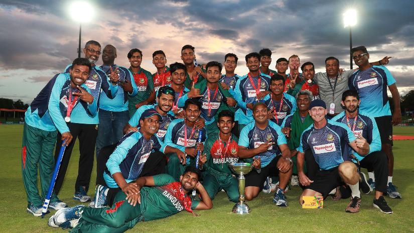 Bangladesh defeated India in the final to win their first ICC U-19 Cricket World Cup. Photo ICC