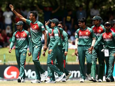 Bangladesh celebrate after clinching the ICC U-19 World Cup. Twitter @cricketworldcup