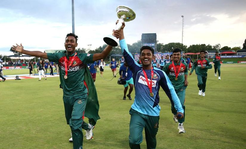 Bangladesh Players celebrate after winning U-19 World Cup. @cricketworldcup/Twitter