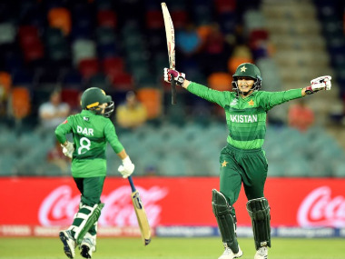 Pakistan captain Bismah Maroof celebrates her team's victory over West Indies at Canberra. Image credit: Twitter/@T20WorldCup