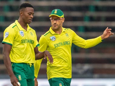 Kagiso Rabada and Faf du Plessis in conversation during South Africa's first T20 match against Australia. AP