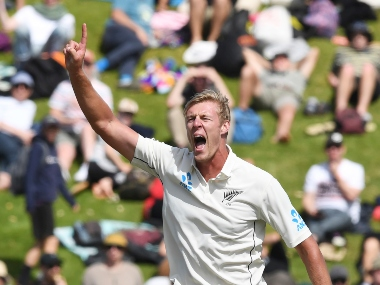 New Zealand's Kyle Jamieson unsuccessfully appeals the wicket of India's Cheteshwar Pujara during the first cricket test between India and New Zealand at the Basin Reserve in Wellington, New Zealand, Sunday, Feb. 23, 2020. (AP Photo/Ross Setford)