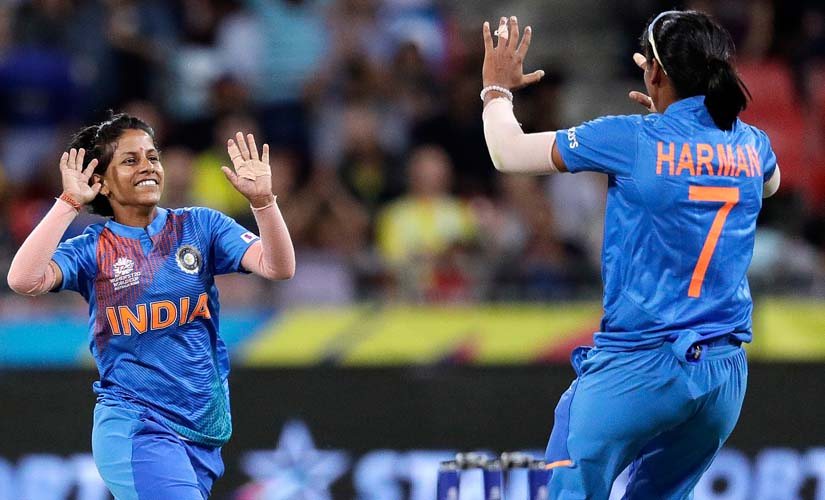 Poonam Yadav celebrates after taking a wicket in India's T20 World Cup match against Australia. AP