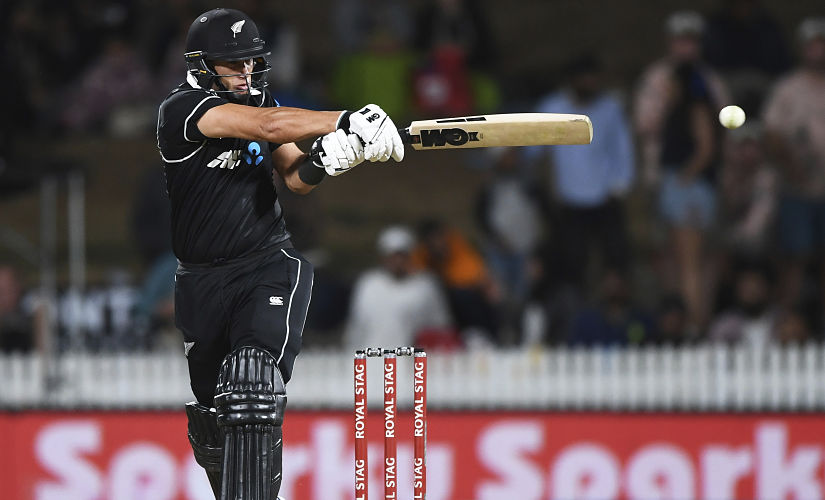 New Zealand's Ross Taylor slaps the ball away on the legside during the 1st ODI against India at Seddon Oval in Hamilton. Photosport via AP Photo
