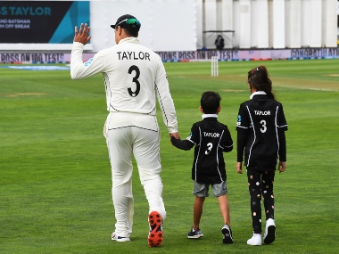 New Zealand's Ross Taylor with two of his childrenm Jonty left and McKenzie before his 100th Test at the Basin Reserve in Wellington. AP