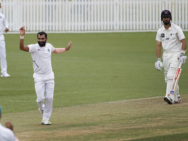 Mohammed Shami in action against New Zealand XI on Day 2 of the warm-up match. Image Courtesy: Twitter @BCCI