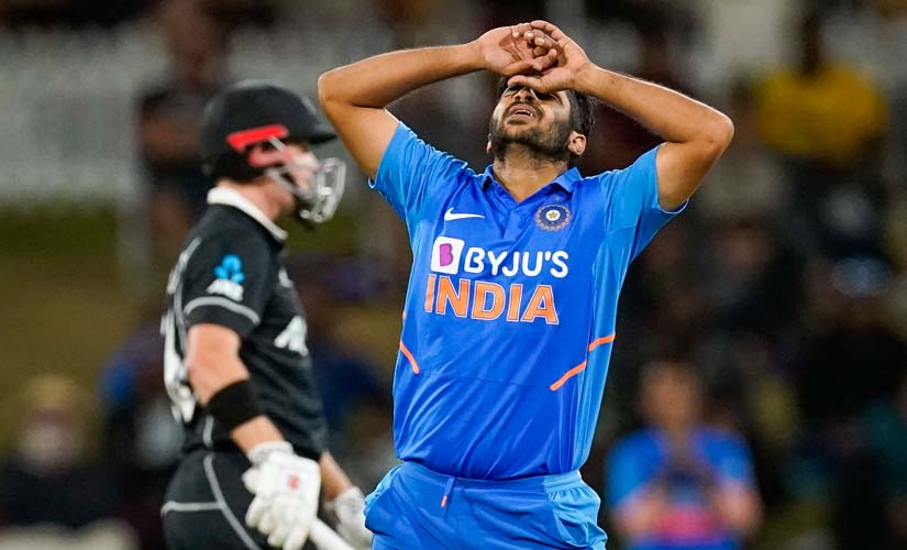 India's Shardul Thakur reacts during the One Day cricket international between India and New Zealand at Bay Oval. AP