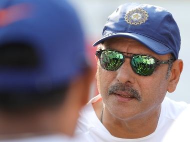 Ravi Shastri Indian cricket coach with players during day three of the the 1st Test match between India and Bangladesh held at the Holkar Cricket Stadium, Indore on the 16th November 2019. Photo by Deepak Malik / Sportzpics for BCCI