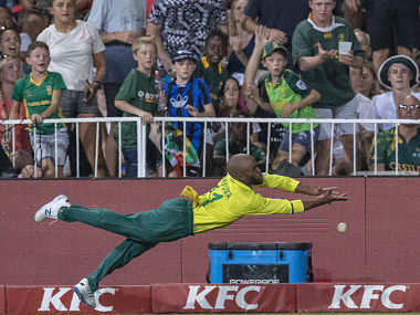 Temba Bavuma got injured while fielding in the third T20I against England on Sunday. AP