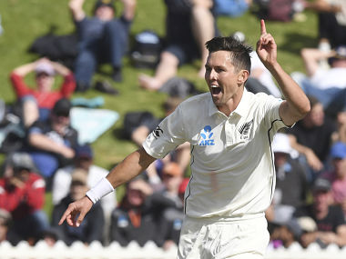 Trent Boult has registered figures of 3-27 in the second innings so far. AP