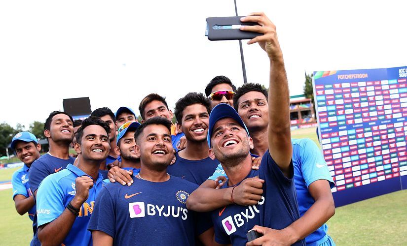 India's U-19 boys take a selfie after the win against Pakistan. ICC