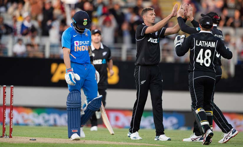 Black Caps bowler Tim Southee celebrates the wicket of India's Virat Kohli. AP