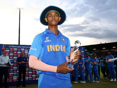 Yashasvi Jaiswal poses with the Man of the Series award after the U-19 World Cup final. ICC