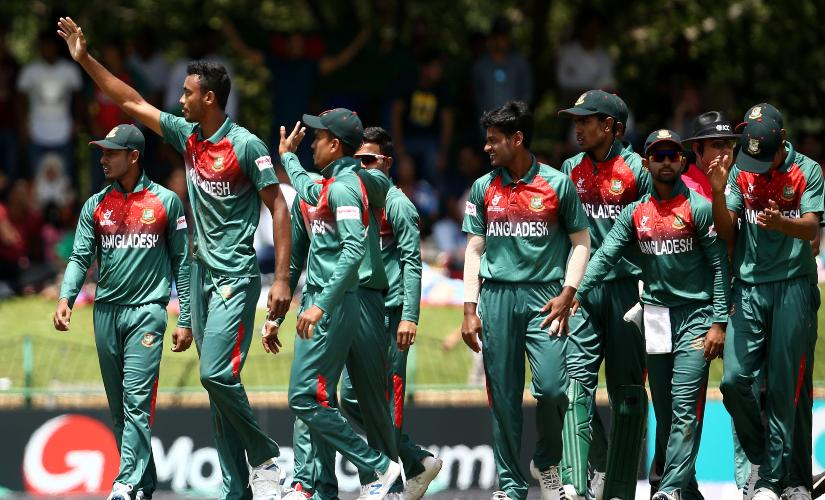 Bangladesh cricketers celebrate after beating India in the final of the ICC Under-19 World Cup 2020. Image credits @cricketworldcup