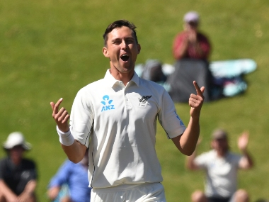New Zealand's Trent Boult celebrates the dismissal of India's Ajinkya Rahane for 29 during the first Test between India and New Zealand at the Basin Reserve in Wellington, New Zealand. AP