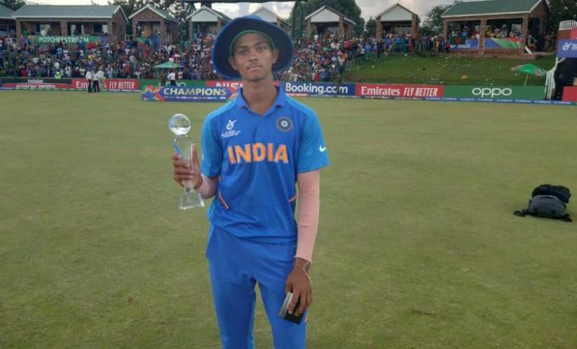 Yashasvi Jaiswal won the Player of the tournament for his 400 run tally in the U-19 World Cup. Image:Twitter/CricketWorldCup