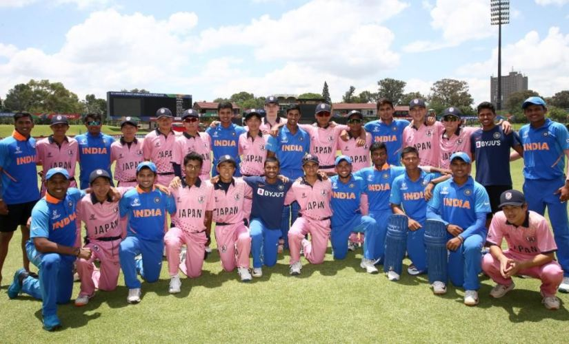 India and Japan cricketers during the ICC Under-19 World Cup 2020. Image credits @cricketworldcup