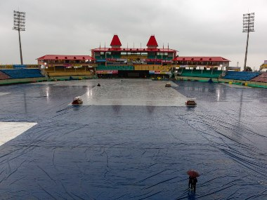 The HPCA Stadium remained under covers on Wednesday as thunderstorms lashed Dharamsala. AP