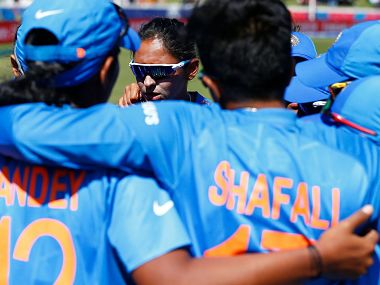 India players huddle during the ICC Women's T20 World Cup match against Sri Lanka at Junction Oval on 29 February in Melbourne. Image courtesy: ICC Media