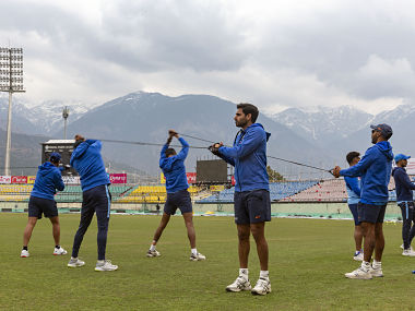 Team India cricketers training for the home series against South Africa in March. AP