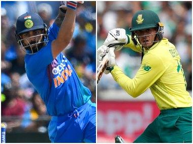 File photo of India captain Virat Kohli (L) and South Africa captain Quinton de Kock batting. AFP