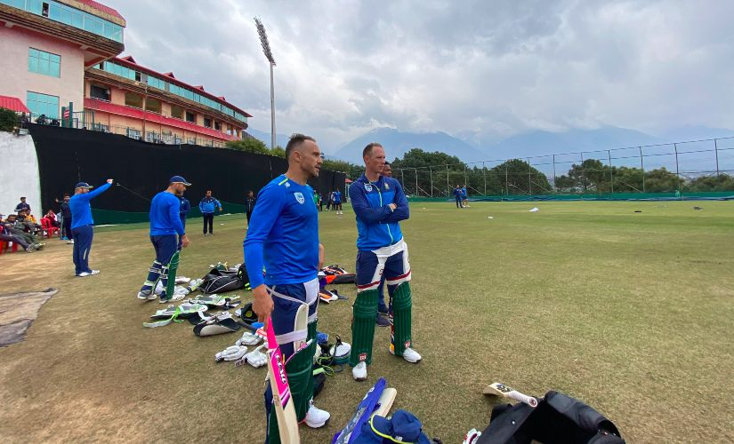 A Proteas training session underway at the HPCA Stadium in Dharamsala on the eve of the first one-dayer. Image credit: Twitter/@OfficialCSA