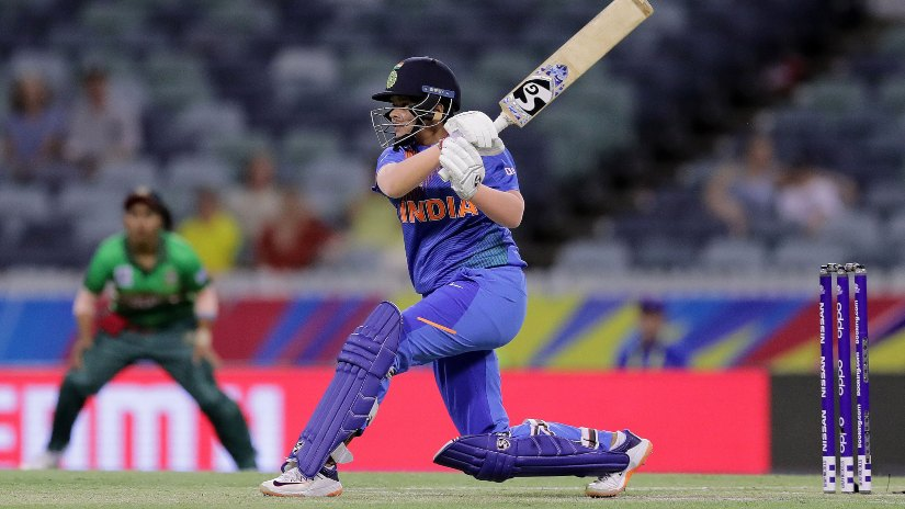 Shafali Verma has been India's highest run-getter in this World Cup with 161 runs in four matches so far. Photo ICC