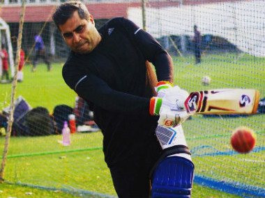 India's Over-50's cricketer Shailendra Singh during a practice session.