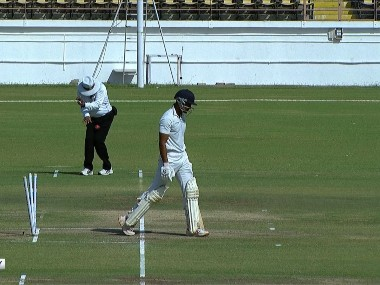 C Shamshuddin hit around the lower abdomen area on the opening day of Ranji Trophy final. Image: @BCCIdomestic