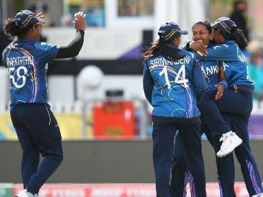 Achini Kulasooriya of Sri Lanka celebrates after dismissing Ayasha Rahman of Bangladesh