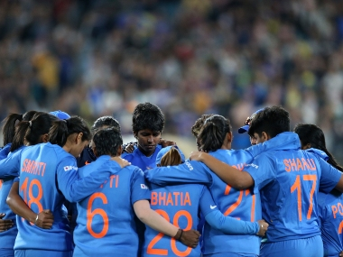 Indian players gather together after their loss to Australia in the Women's T20 World Cup final in Melbourne, Sunday, March 8, 2020. AP