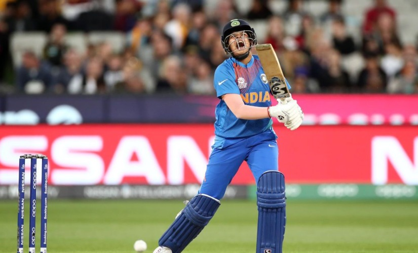 India's Shafali Verma reacts during the ICC Women's T20 World Cup final between India and Australia, in Melbourne, Australia. AP