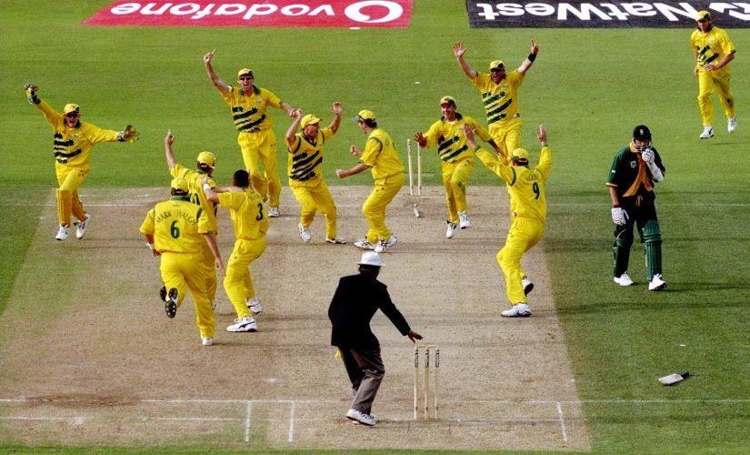 Australian players break into wild celebrations as pull off an unlikely tie against South Africa at Edgbaston, to qualify for the 1999 World Cup Finals at Lord's. Image courtesy: Twitter @ICC