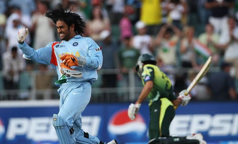 MS Dhoni in celebratory mode moments after India sealed the victory. Image courtesy: Twitter/ICC