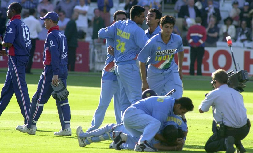 Indian players ecstatic after registering a win in the final. Image courtesy: Twitter/@ICC