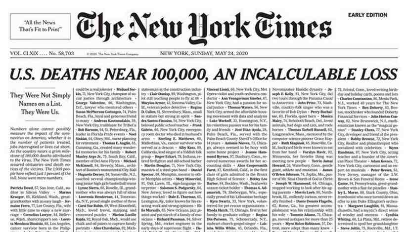 The New York Times devotes entire front page to 1000 COVID19 victims The project behind long solemn list of people