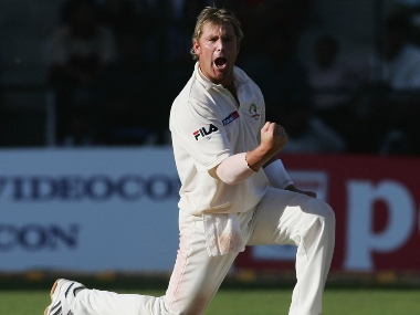BANGALORE, INDIA - OCTOBER 7: Shane Warne of Australia celebrates after bowling VVS Laxman of India during day two of the First Test between India and Australia played at the Chinnaswamy Stadium on October 7, 2004 in Bangalore, India. (Photo by Hamish Blair/Getty Images) *** Local Caption *** Shane Warne