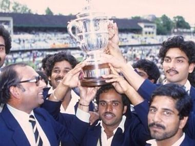Members of the Indian team lifting the 1983 World Cup trophy. @BCCI/Twitter