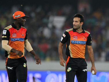 Darren Sammy and Irfan Pathan while playing for Sunrisers Hyderabad during IPL 2014. Image: Sportzpics