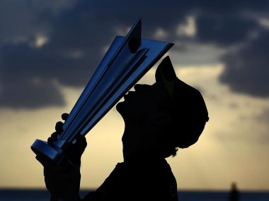 Paul Collingwood with the World T20 trophy after England won the 2010 edition. Image: Twitter/@T20WorldCup